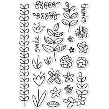 Set sellos transparentes Flores y Ramas