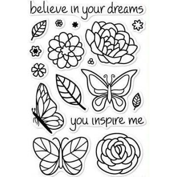 Set sellos transparentes Flores y Mariposa