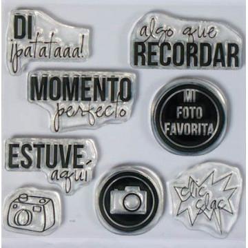 Set sellos transparentes Español: Clic Clac