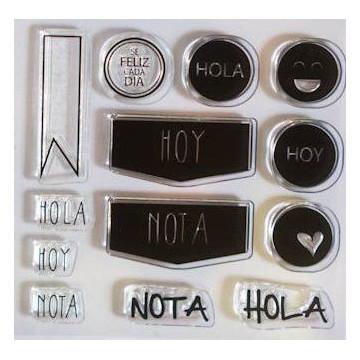 Set sellos transparentes Español: Hola