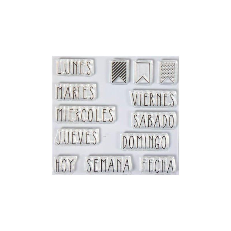 Set sellos transparentes Español: Días de la Semana