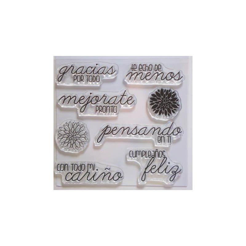 Set sellos transparentes Español: Frases de Cariño