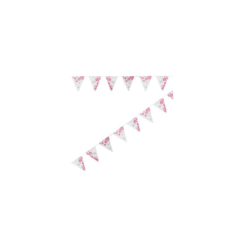Banderolas Guirnaldas de Papel Rosas y Palomas
