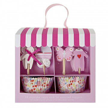 Set cupcakes + toppers Baby Shop Rosa