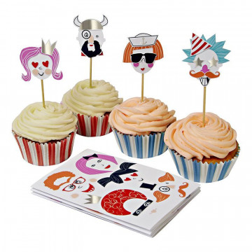Set cupcakes + toppers Haz tu cara