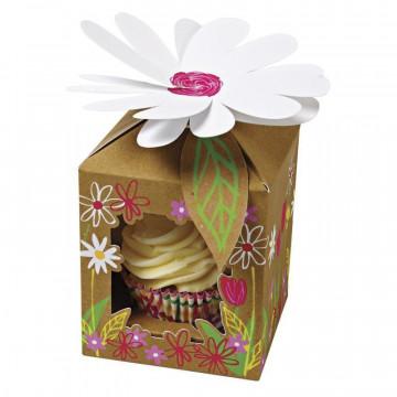 Pack de 4 cajas para 1 cupcakes Jardín