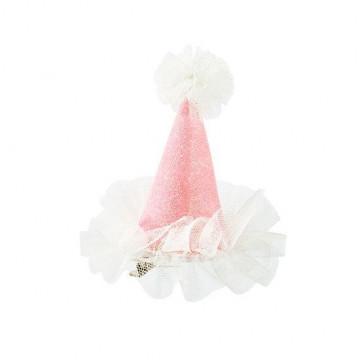 Gorrito de fiesta con clip Rosa Purpurina