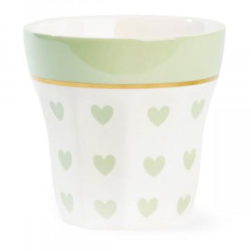 Tazón de leche Corazones Verde Menta