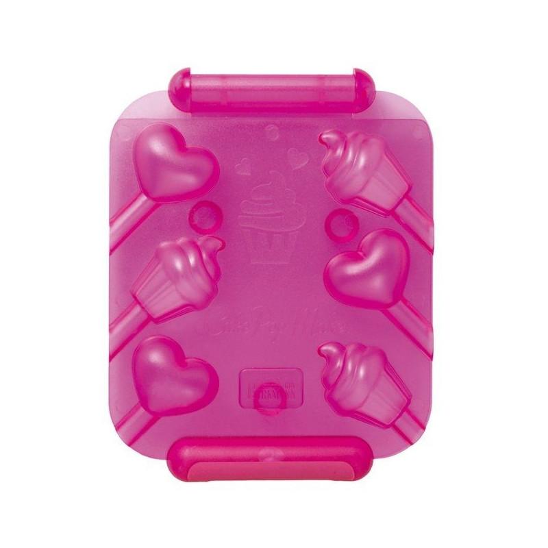 Pack 2 moldes 6 cavidades cakepops: cupcake y corazón