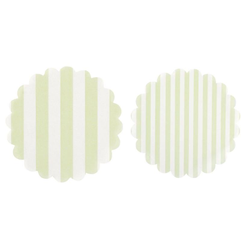 Tapetes de papel 20 unidades Rayas Verde Menta
