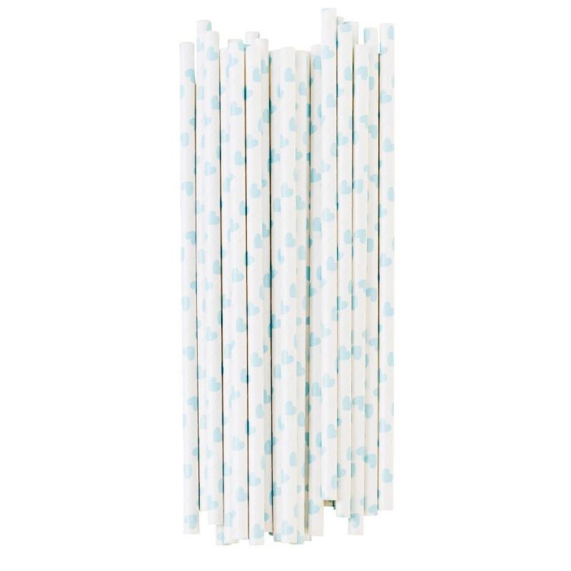 Pajitas de papel Corazones Azul Pastel