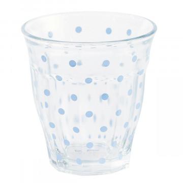 Vaso de Cristal Lunares Azul Pastel