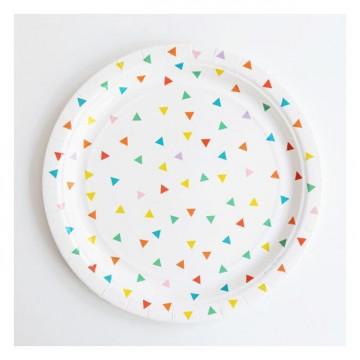 Platos fiesta Triángulos Colores