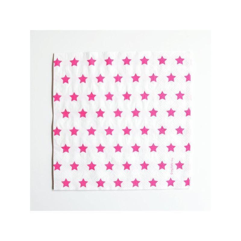 Servilletas de papel Estrellas Fuxia