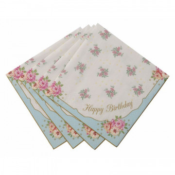 Servilleta de papel Happy Birthday Vintage Campestre