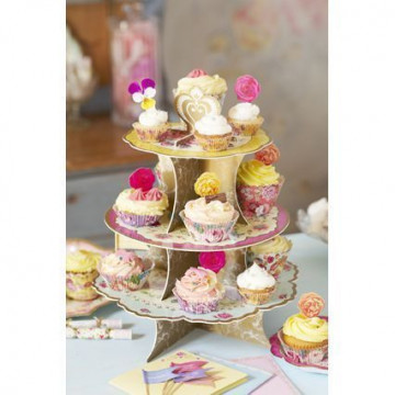 Stand de presentación cupcakes/pasteles Vintage Campestre