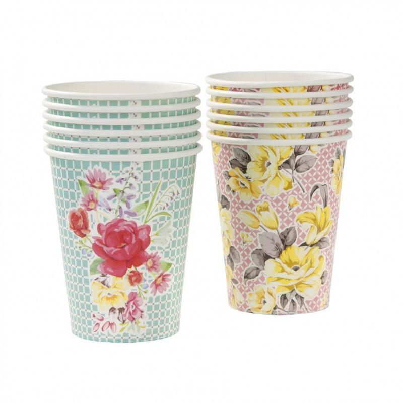 Vasos de papel Flores Vintage Campestre