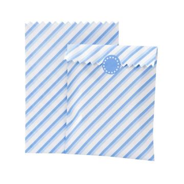 Bolsas Papel Rayas Azul Dos Tonos