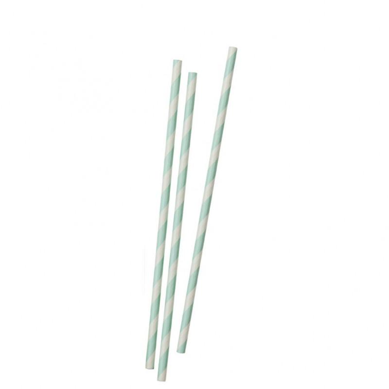 Pajitas de papel Rayas Verde Menta