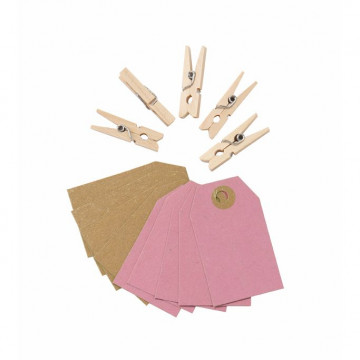 Etiquetas + Pinzas de madera Kraft