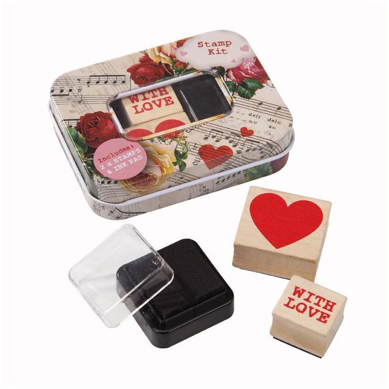 Pack de 2 sellos de madera + tinta Corazón