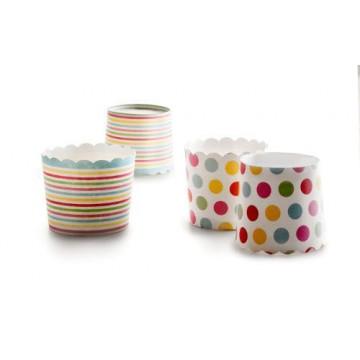 Cápsulas cupcakes Lunares y Rayas Colores Ibili