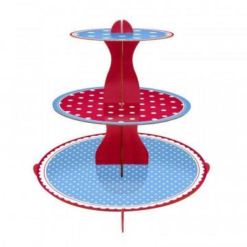 Stand de presentación cupcakes Lunares Azul y Rojo Mason Cash