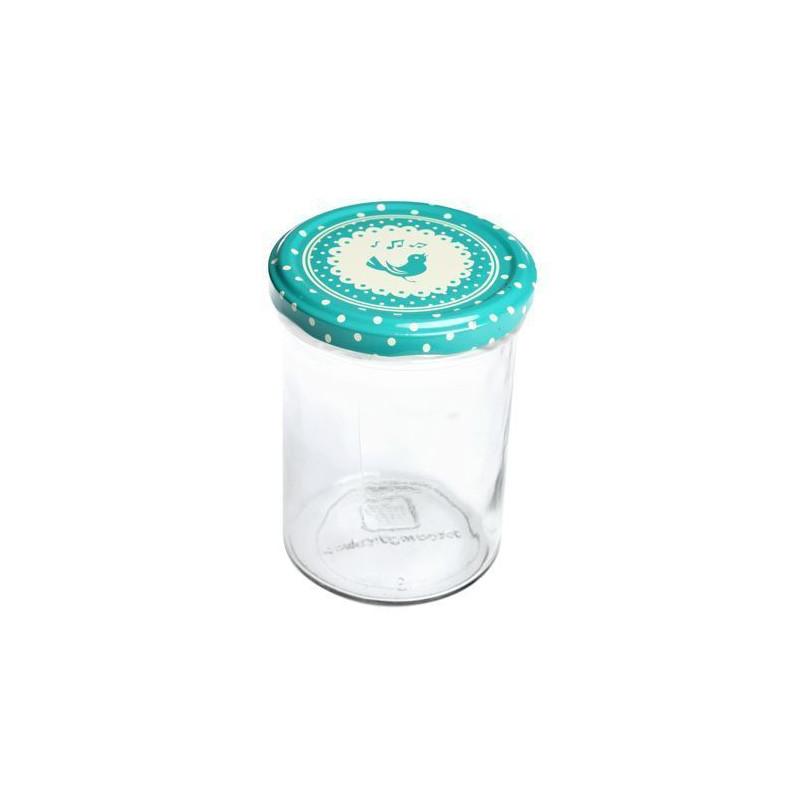 Bote de cristal con tapa Turquesa Pajarito