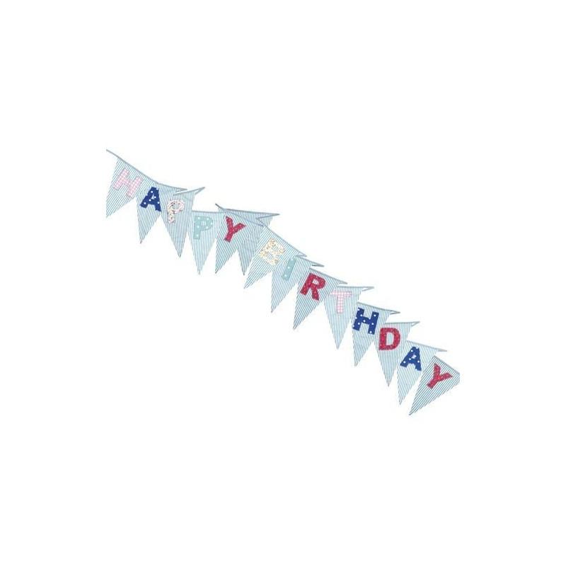 Banderolas Guirnalda de Tela Azul Happy Birthday
