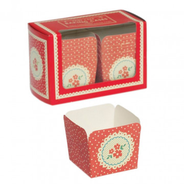 Capsulas cupcakes cuadradas Vintage Flores