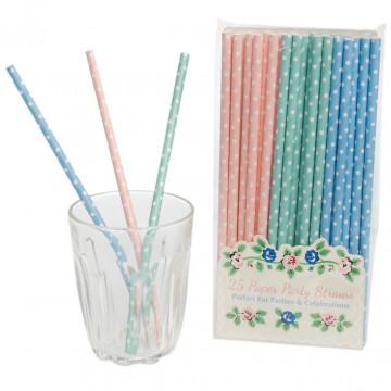 Pajitas de papel lunares: rosa, verde menta y azul pastel