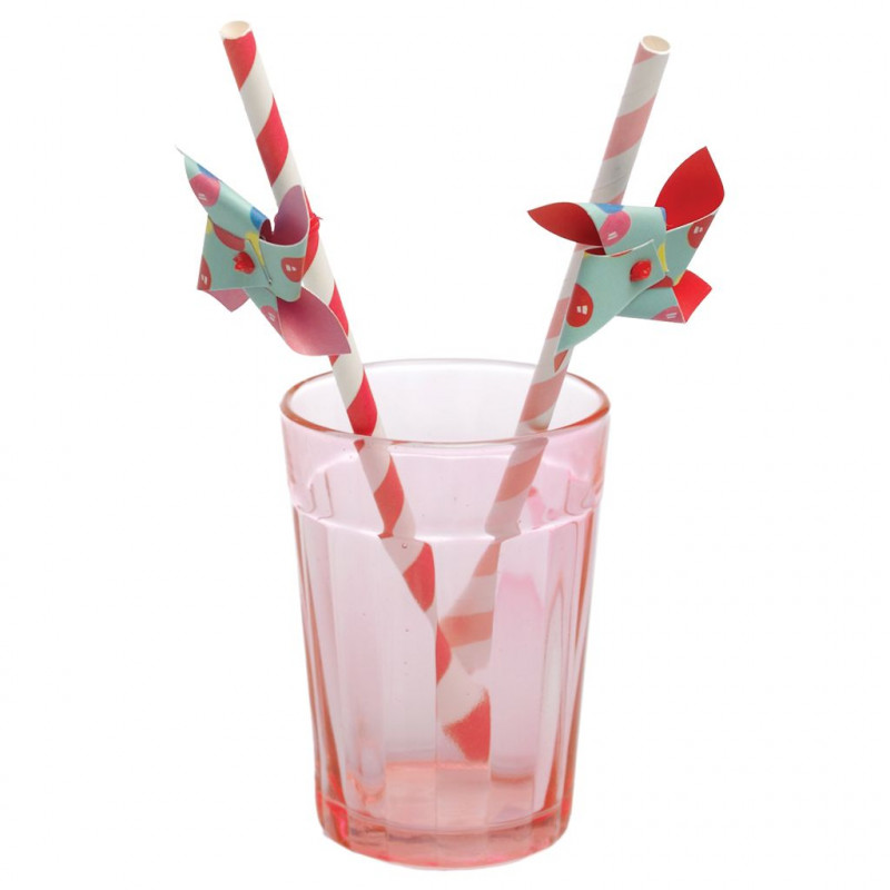Pajitas de papel rayas rosa y fuxia con molinete