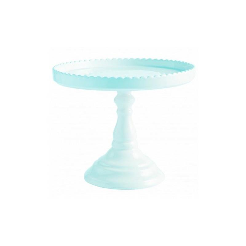 Cake Stand Cerámica Azul Pastel con Blonda