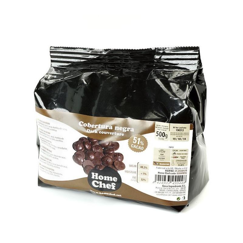Chocolate de cobertura Negra 51% Home Chef