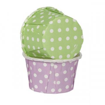 Cápsulas Mini Cupcakes Lila y Verde con lunares Wilton
