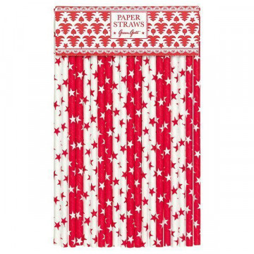 Pajitas de papel Rojas y Blancas con estrellas Green Gate