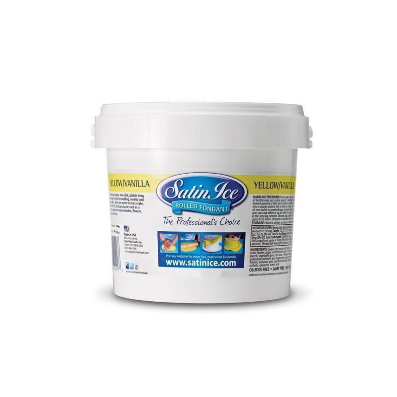 Fondant Amarillo sabor vainilla 1kg Satin Ice