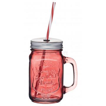 Jarra de cristal con asa+ tapa+pajita roja Kitchen Craft