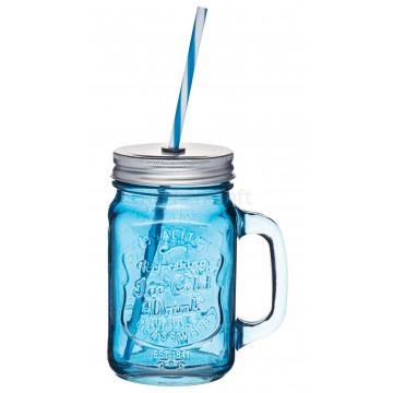 Jarra de cristal con asa+ tapa+pajita azul Kitchen Craft