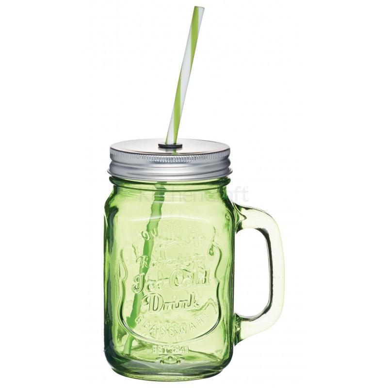 Jarra de cristal con asa+ tapa+pajita verde Kitchen Craft