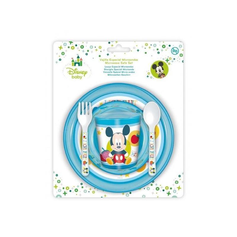 Set Vaso + Cuenco + Plato + Cubiertos Mickey Mouse Baby