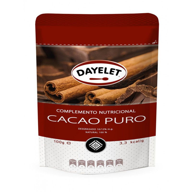 Cacao en polvo 100% CACAO Minis 100gr Dayelet
