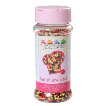 Sprinkles Nonpareils Mini perlitas Rojo Amarillo y Negro Funcakes