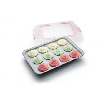 Bandeja de cupcakes con tapa transportadora