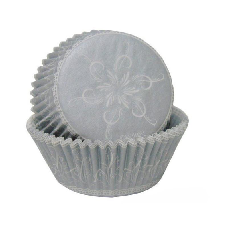Cápsulas cupcakes Plata Navidad Wilton