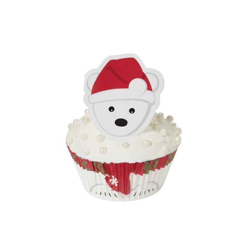 Set para cupcakes: Oso Polar Navidad Wilton