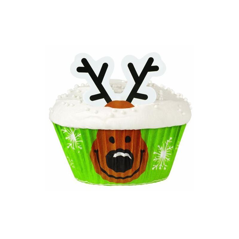 Set para cupcakes: Reno Navidad Wilton