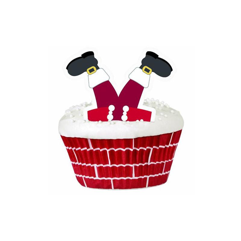 Set para cupcakes: Santa Claus en la Chimenea Wilton