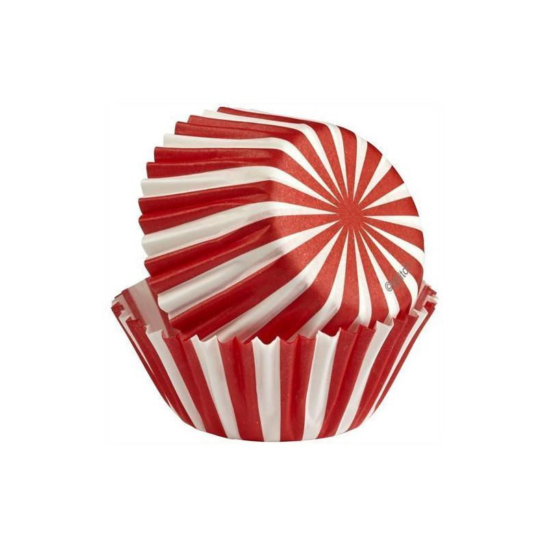 Capsulas mini cupcakes Blanco y Rojo Wilton