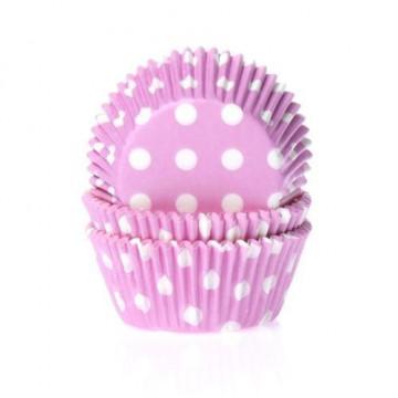 Cápsulas cupcakes Rosa con lunares blancos House of Marie